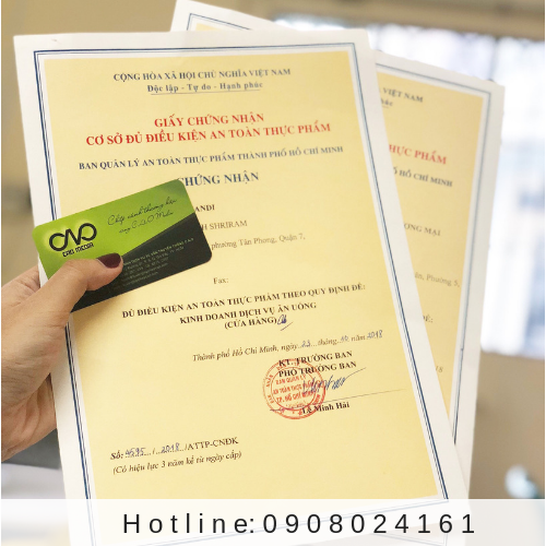 Thủ tục cấp giấy an toàn thực phẩm cho dịch vụ ăn uống
