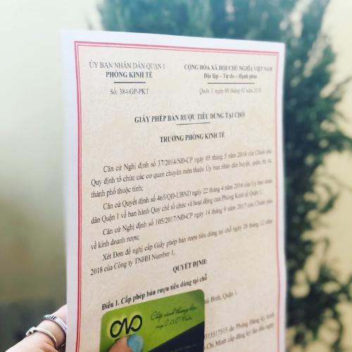 Thực hiện giấy phép bán rượu tiêu dùng tại chỗ tại nhà hàng