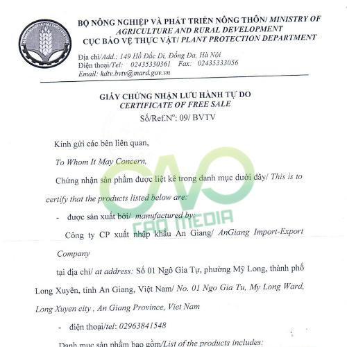 Hướng dẫn xin giấy chứng nhận lưu hành tự do tại Bộ Nông Nghiệp & Phát Triển Nông Thôn