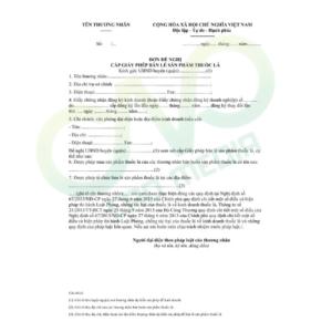 Thủ tục xin giấy phép bán lẻ sản phẩm thuốc lá