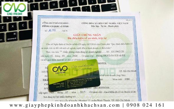 Giấy phép an ninh trật tự cho khách sạn tại huyện Bình Chánh