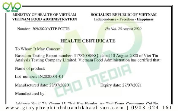Chứng nhận y tế - HC sản phẩm phô mai que